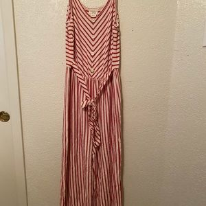 Red and white striped large jumper